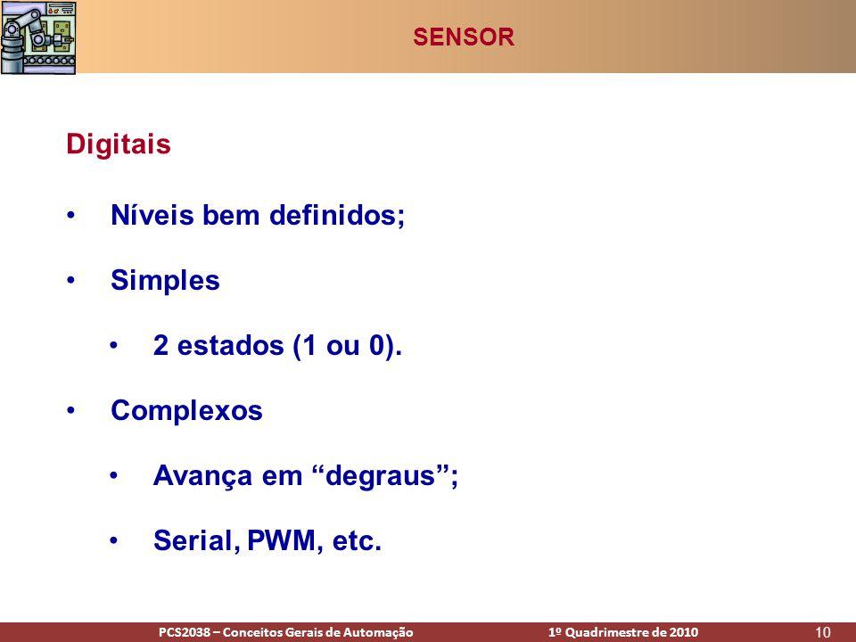 PCS2938 – Conceitos Gerais de Automação 1º Quadrimestre de 2009PCS2038 – Conceitos Gerais de Automação 1º Quadrimestre de 2010 10 •Níveis bem definidos; •Simples •2 estados (1 ou 0).