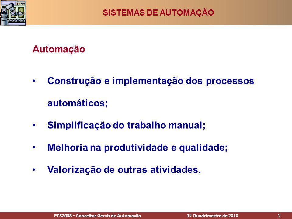 PCS2938 – Conceitos Gerais de Automação 1º Quadrimestre de 2009PCS2038 – Conceitos Gerais de Automação 1º Quadrimestre de 2010 2 •Construção e implementação dos processos automáticos; •Simplificação do trabalho manual; •Melhoria na produtividade e qualidade; •Valorização de outras atividades.