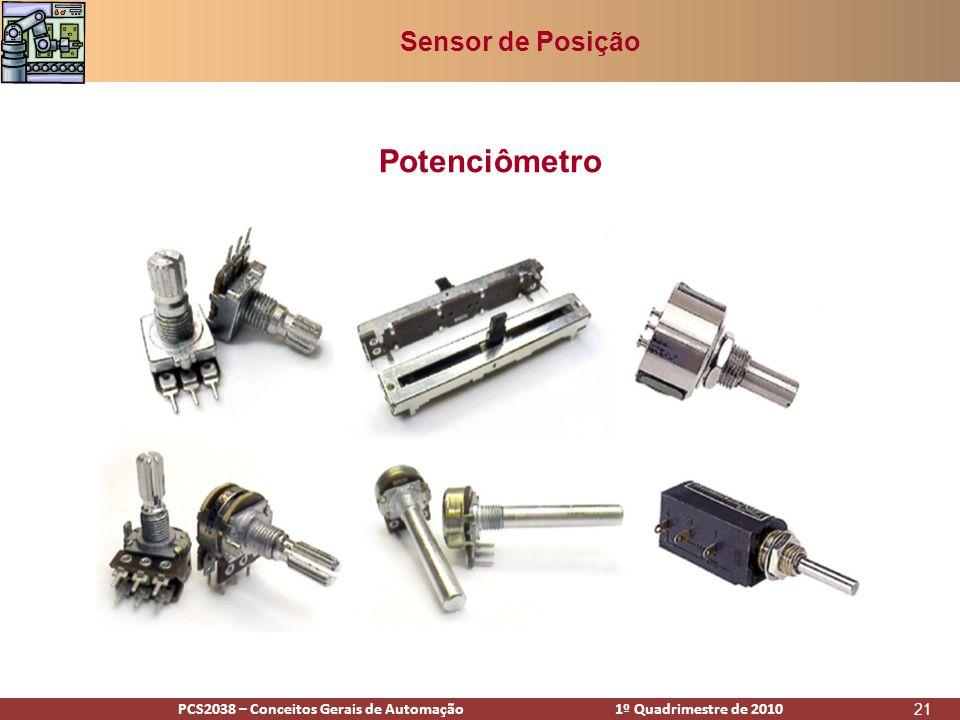 PCS2938 – Conceitos Gerais de Automação 1º Quadrimestre de 2009PCS2038 – Conceitos Gerais de Automação 1º Quadrimestre de 2010 21 Potenciômetro Sensor de Posição
