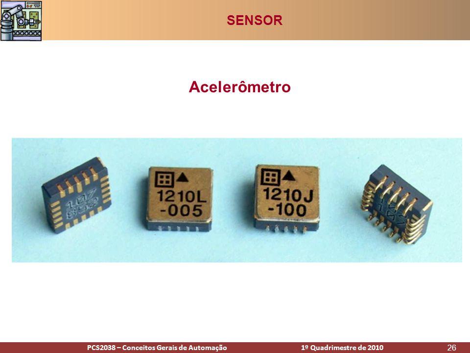 PCS2938 – Conceitos Gerais de Automação 1º Quadrimestre de 2009PCS2038 – Conceitos Gerais de Automação 1º Quadrimestre de 2010 26 Acelerômetro SENSOR