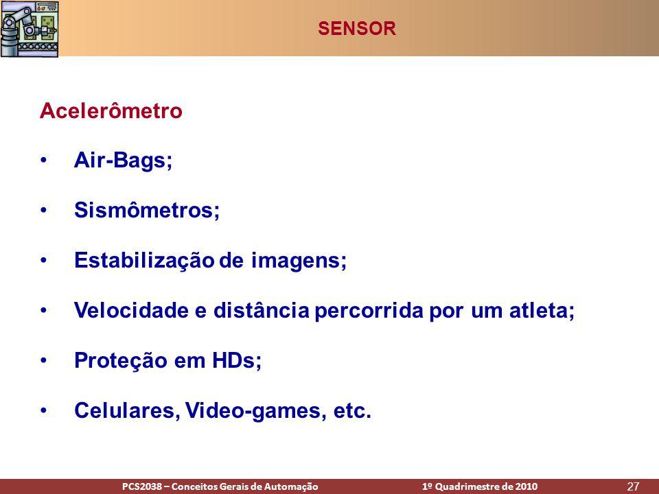 PCS2938 – Conceitos Gerais de Automação 1º Quadrimestre de 2009PCS2038 – Conceitos Gerais de Automação 1º Quadrimestre de 2010 27 •Air-Bags; •Sismômetros; •Estabilização de imagens; •Velocidade e distância percorrida por um atleta; •Proteção em HDs; •Celulares, Video-games, etc.