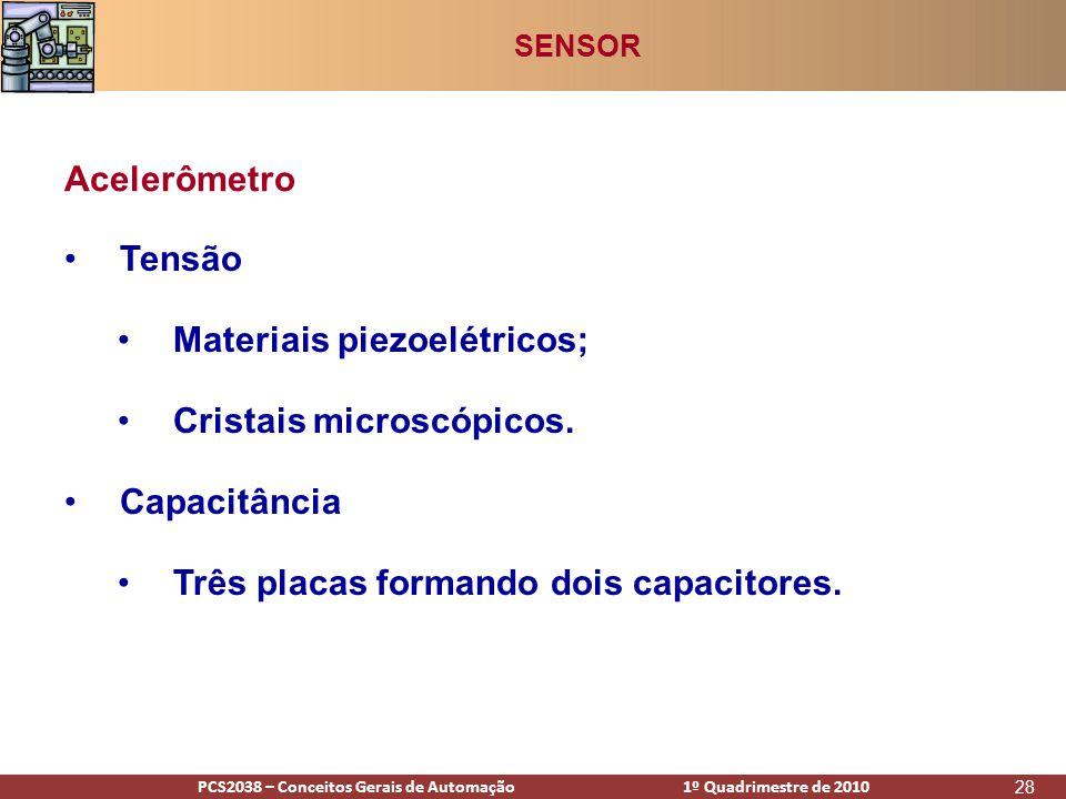 PCS2938 – Conceitos Gerais de Automação 1º Quadrimestre de 2009PCS2038 – Conceitos Gerais de Automação 1º Quadrimestre de 2010 28 •Tensão •Materiais piezoelétricos; •Cristais microscópicos.