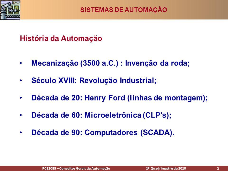 PCS2938 – Conceitos Gerais de Automação 1º Quadrimestre de 2009PCS2038 – Conceitos Gerais de Automação 1º Quadrimestre de 2010 4 Sistema de Controle SISTEMAS DE AUTOMAÇÃO