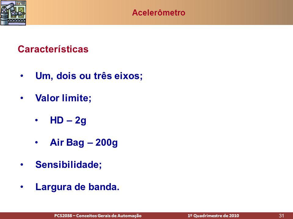 PCS2938 – Conceitos Gerais de Automação 1º Quadrimestre de 2009PCS2038 – Conceitos Gerais de Automação 1º Quadrimestre de 2010 31 Acelerômetro •Um, dois ou três eixos; •Valor limite; •HD – 2g •Air Bag – 200g •Sensibilidade; •Largura de banda.