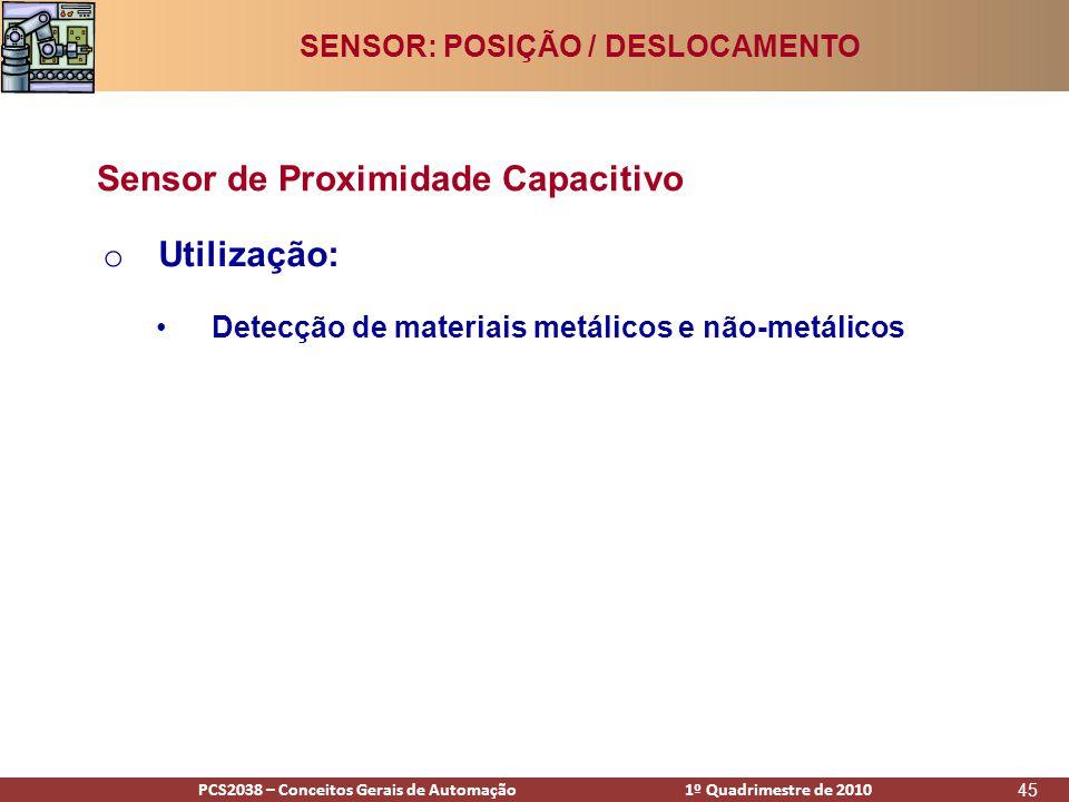 PCS2938 – Conceitos Gerais de Automação 1º Quadrimestre de 2009PCS2038 – Conceitos Gerais de Automação 1º Quadrimestre de 2010 45 o Utilização: •Detecção de materiais metálicos e não-metálicos Sensor de Proximidade Capacitivo SENSOR: POSIÇÃO / DESLOCAMENTO