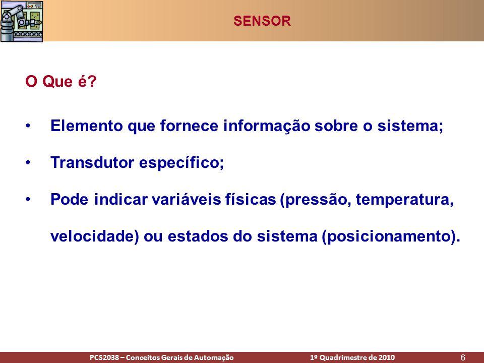 PCS2938 – Conceitos Gerais de Automação 1º Quadrimestre de 2009PCS2038 – Conceitos Gerais de Automação 1º Quadrimestre de 2010 47 Sensor de Proximidade Capacitivo SENSOR: POSIÇÃO / DESLOCAMENTO