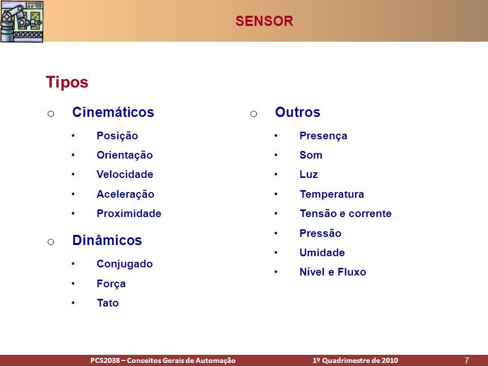 PCS2938 – Conceitos Gerais de Automação 1º Quadrimestre de 2009PCS2038 – Conceitos Gerais de Automação 1º Quadrimestre de 2010 68 •http://www.automacoes.com/2008/12/histrico-da-automao-industrial.html •http://www.cwbookstore.com.br/cet_ta.cfm •http://automagate.com.br/?p=12 •http://pt.wikipedia.org/wiki/Revolu%C3%A7%C3%A3o_Industrial •http://pt.wikipedia.org/wiki/Henry_Ford •http://literature.rockwellautomation.com •http://www.maxwellbohr.com.br/downloads/Tutorial%20Eletronica%20- %20Aplicacoes%20e%20funcionamento%20de%20sensores.pdf Referências SENSORES