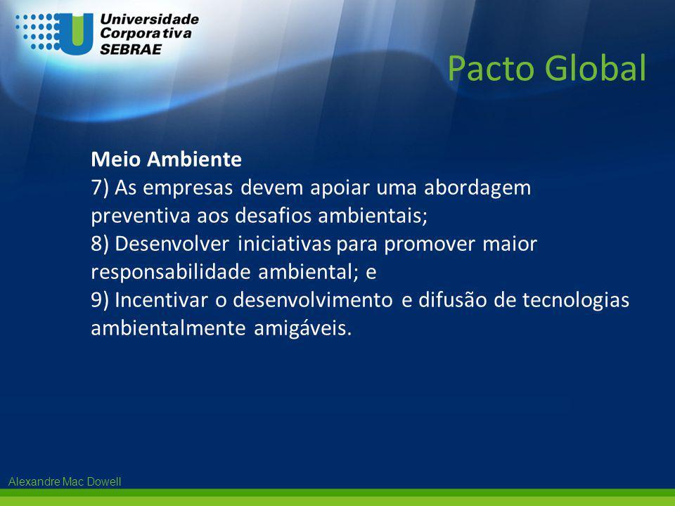 Alexandre Mac Dowell Meio Ambiente 7) As empresas devem apoiar uma abordagem preventiva aos desafios ambientais; 8) Desenvolver iniciativas para promo