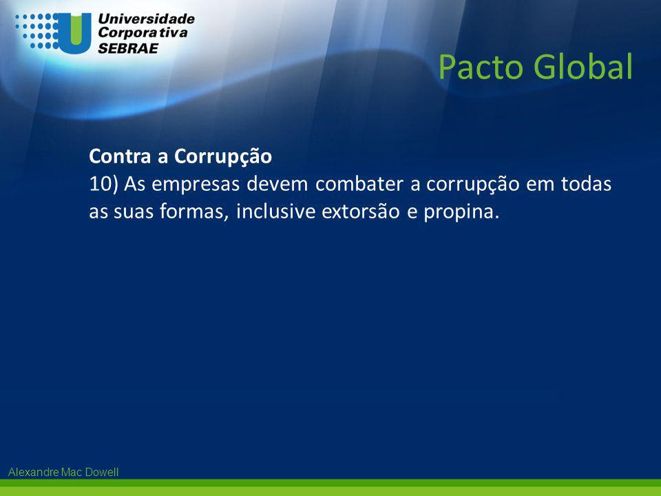 Alexandre Mac Dowell Contra a Corrupção 10) As empresas devem combater a corrupção em todas as suas formas, inclusive extorsão e propina. Pacto Global