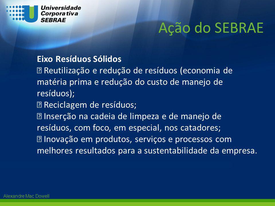 Alexandre Mac Dowell Eixo Resíduos Sólidos  Reutilização e redução de resíduos (economia de matéria prima e redução do custo de manejo de resíduos);