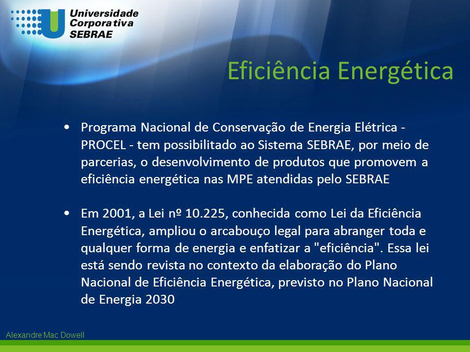 Alexandre Mac Dowell •Programa Nacional de Conservação de Energia Elétrica - PROCEL - tem possibilitado ao Sistema SEBRAE, por meio de parcerias, o de