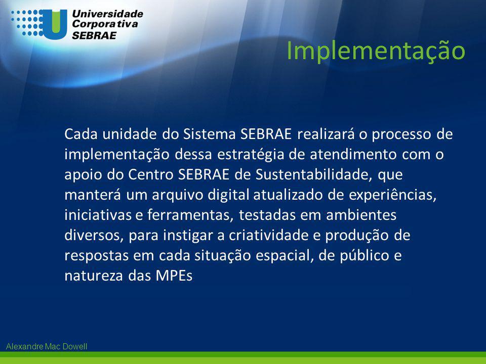 Alexandre Mac Dowell Cada unidade do Sistema SEBRAE realizará o processo de implementação dessa estratégia de atendimento com o apoio do Centro SEBRAE