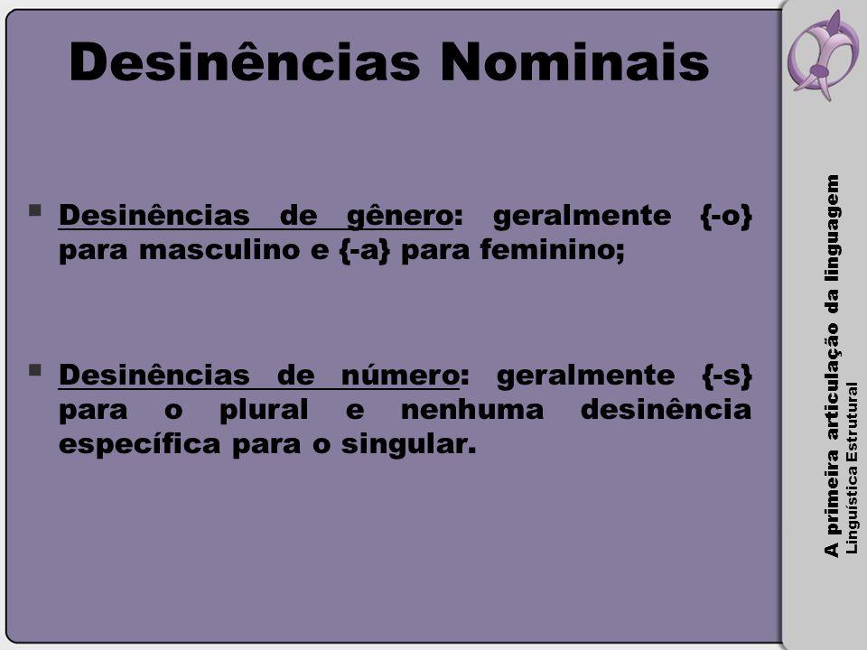 A primeira articulação da linguagem Linguística Estrutural Desinências Nominais  Desinências de gênero: geralmente {-o} para masculino e {-a} para fe