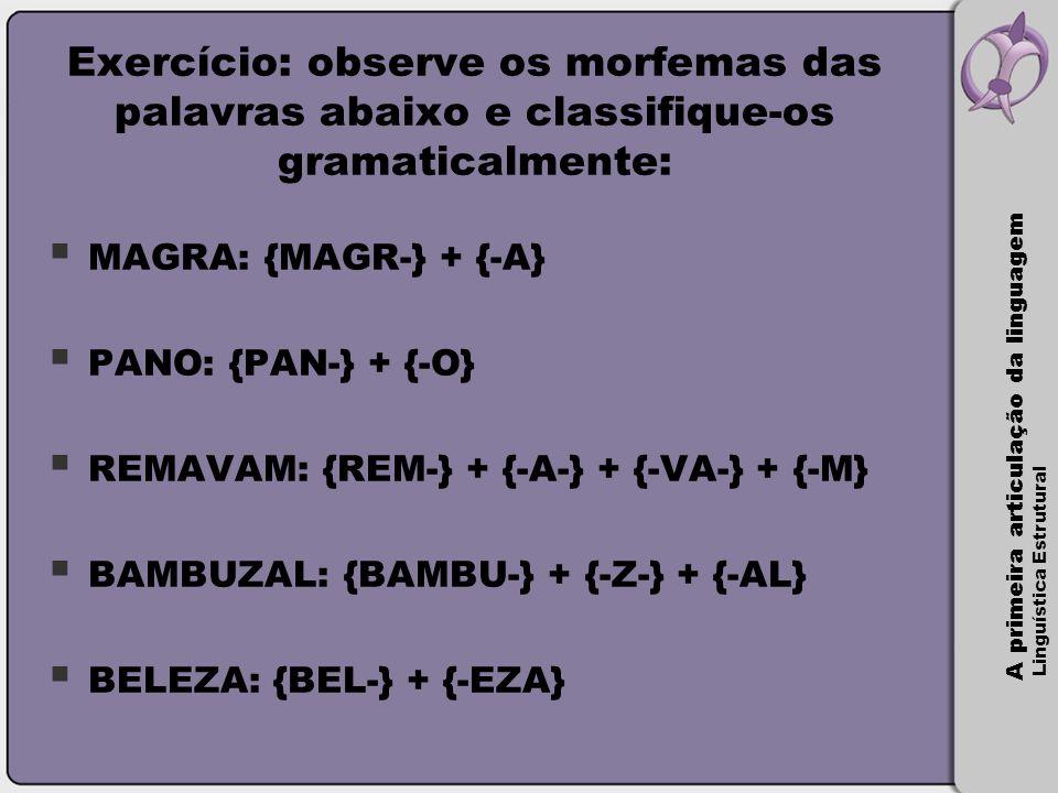 A primeira articulação da linguagem Linguística Estrutural Exercício: observe os morfemas das palavras abaixo e classifique-os gramaticalmente:  MAGR