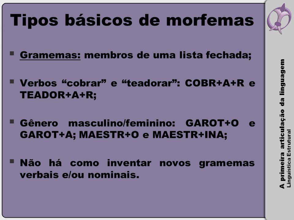 A primeira articulação da linguagem Linguística Estrutural Alguns exemplos  Infiel (prefixo);  Gestora (desinência nominal de gênero);  Pais (desinência nominal de número);  Acreditávamos (DMT);  Renovamos (DNP);  Peixe (VTN);  Mexer (VTV);  Gasômetro (VL);  Manguezal (CL).