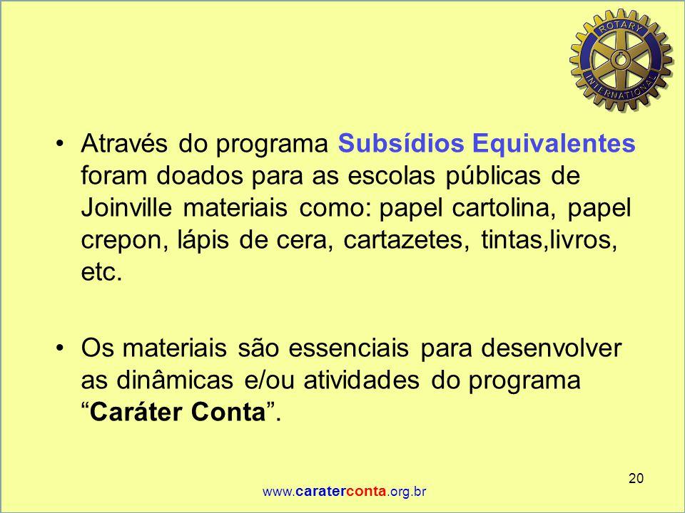 •Através do programa Subsídios Equivalentes foram doados para as escolas públicas de Joinville materiais como: papel cartolina, papel crepon, lápis de