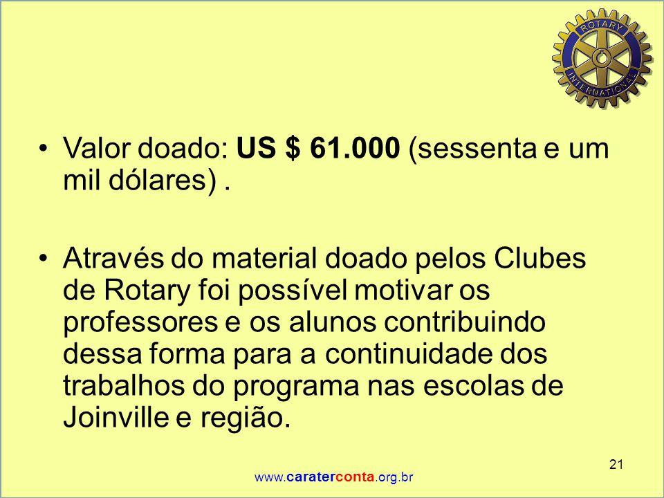 •Valor doado: US $ 61.000 (sessenta e um mil dólares). •Através do material doado pelos Clubes de Rotary foi possível motivar os professores e os alun