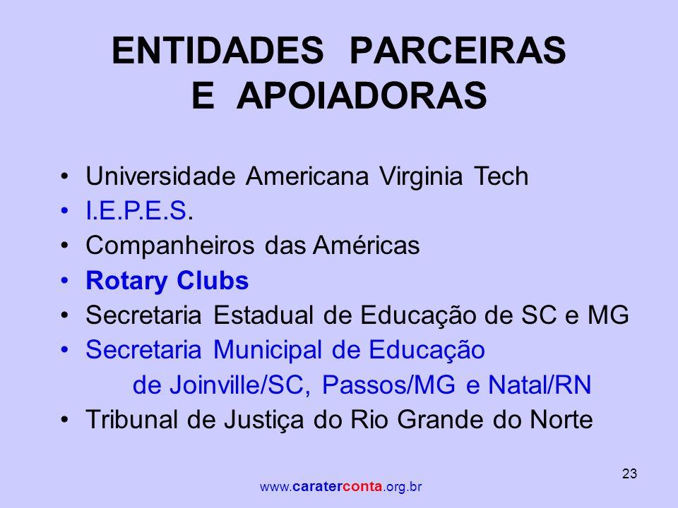 ENTIDADES PARCEIRAS E APOIADORAS •Universidade Americana Virginia Tech •I.E.P.E.S. •Companheiros das Américas •Rotary Clubs •Secretaria Estadual de Ed