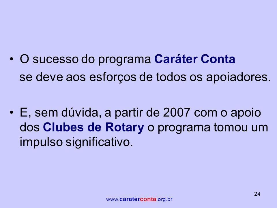 •O sucesso do programa Caráter Conta se deve aos esforços de todos os apoiadores. •E, sem dúvida, a partir de 2007 com o apoio dos Clubes de Rotary o