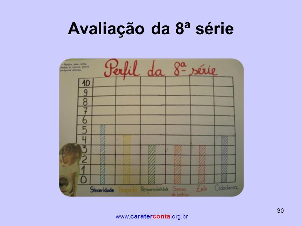 Avaliação da 8ª série 30 www. caraterconta.org.br