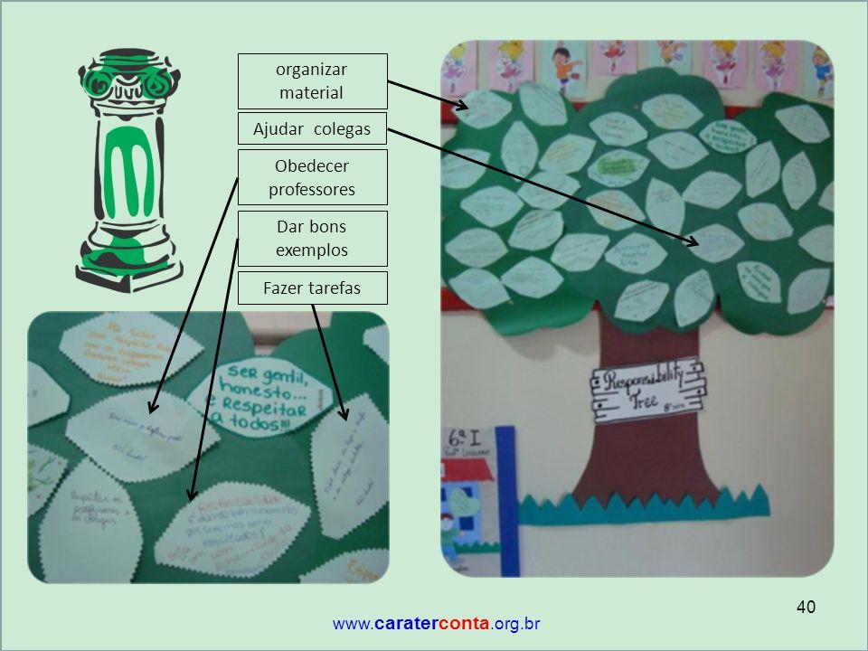 Fazer tarefas Dar bons exemplos organizar material Ajudar colegas Obedecer professores 40 www. caraterconta.org.br