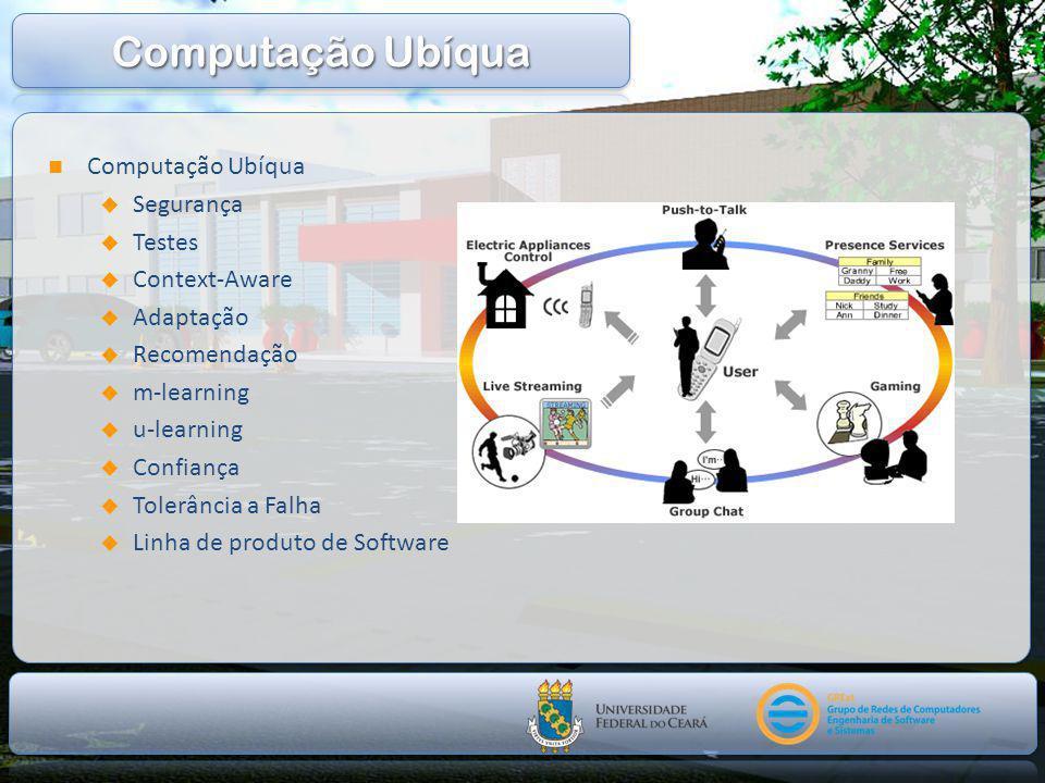  Computação Ubíqua  Segurança  Testes  Context-Aware  Adaptação  Recomendação  m-learning  u-learning  Confiança  Tolerância a Falha  Linha de produto de Software