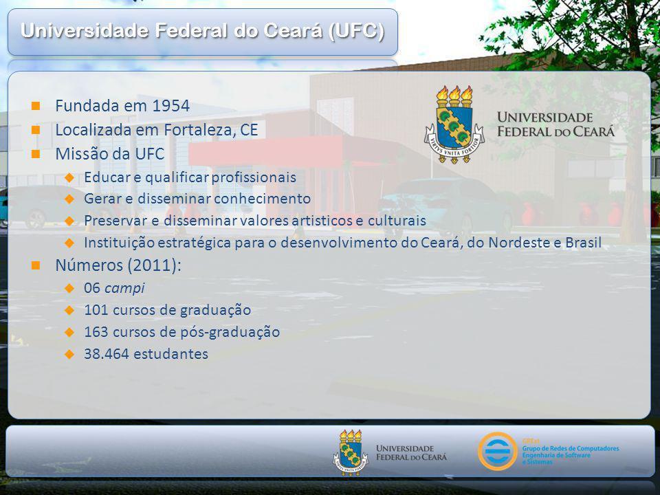  Fundada em 1954  Localizada em Fortaleza, CE  Missão da UFC  Educar e qualificar profissionais  Gerar e disseminar conhecimento  Preservar e disseminar valores artisticos e culturais  Instituição estratégica para o desenvolvimento do Ceará, do Nordeste e Brasil  Números (2011):  06 campi  101 cursos de graduação  163 cursos de pós-graduação  38.464 estudantes