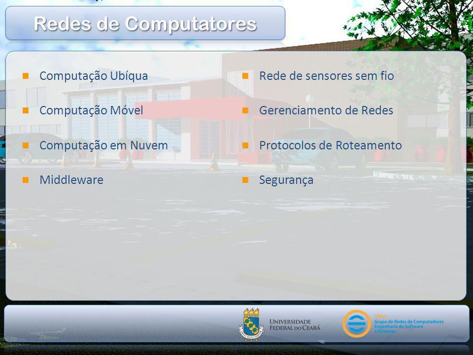  Computação Ubíqua  Computação Móvel  Computação em Nuvem  Middleware  Rede de sensores sem fio  Gerenciamento de Redes  Protocolos de Roteamento  Segurança