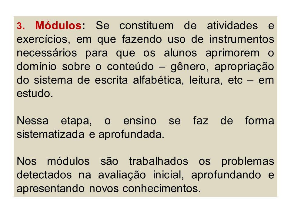 3. Módulos: Se constituem de atividades e exercícios, em que fazendo uso de instrumentos necessários para que os alunos aprimorem o domínio sobre o co