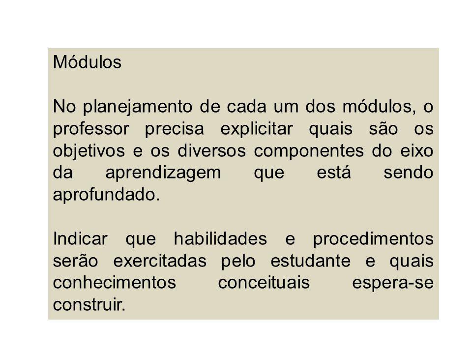 Módulos No planejamento de cada um dos módulos, o professor precisa explicitar quais são os objetivos e os diversos componentes do eixo da aprendizage