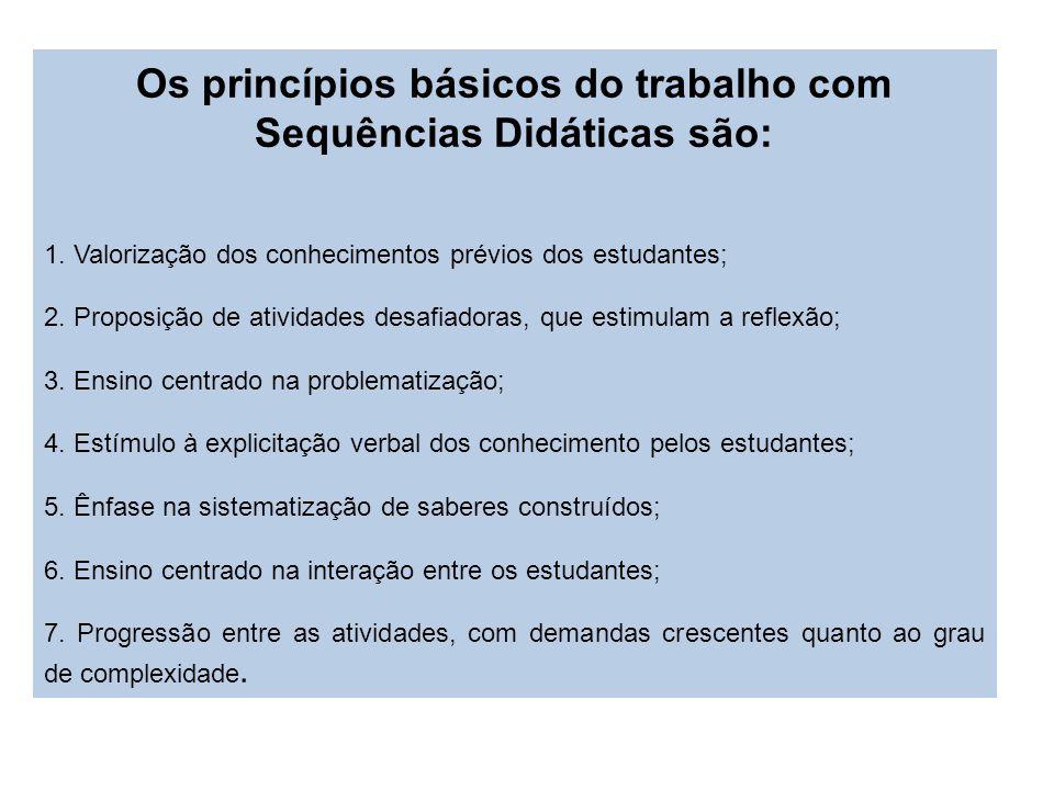 Os princípios básicos do trabalho com Sequências Didáticas são: 1. Valorização dos conhecimentos prévios dos estudantes; 2. Proposição de atividades d