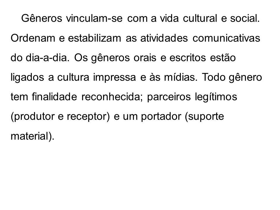 Gêneros vinculam-se com a vida cultural e social. Ordenam e estabilizam as atividades comunicativas do dia-a-dia. Os gêneros orais e escritos estão li