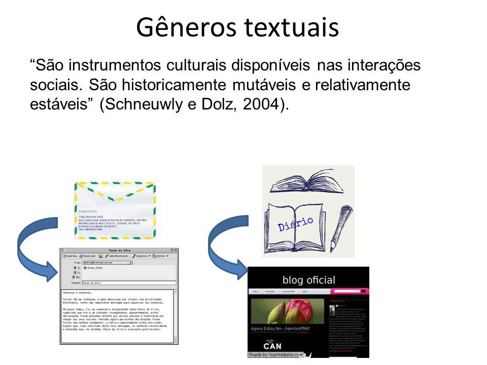 """Gêneros textuais """"São instrumentos culturais disponíveis nas interações sociais. São historicamente mutáveis e relativamente estáveis"""" (Schneuwly e Do"""