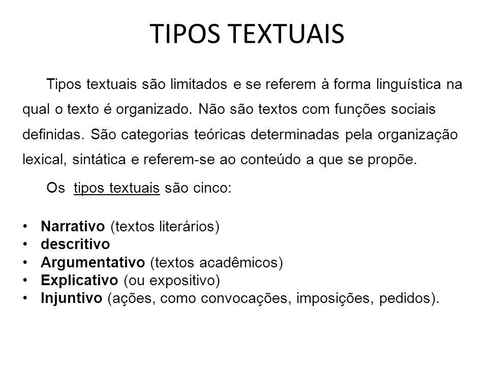 TIPOS TEXTUAIS Tipos textuais são limitados e se referem à forma linguística na qual o texto é organizado. Não são textos com funções sociais definida