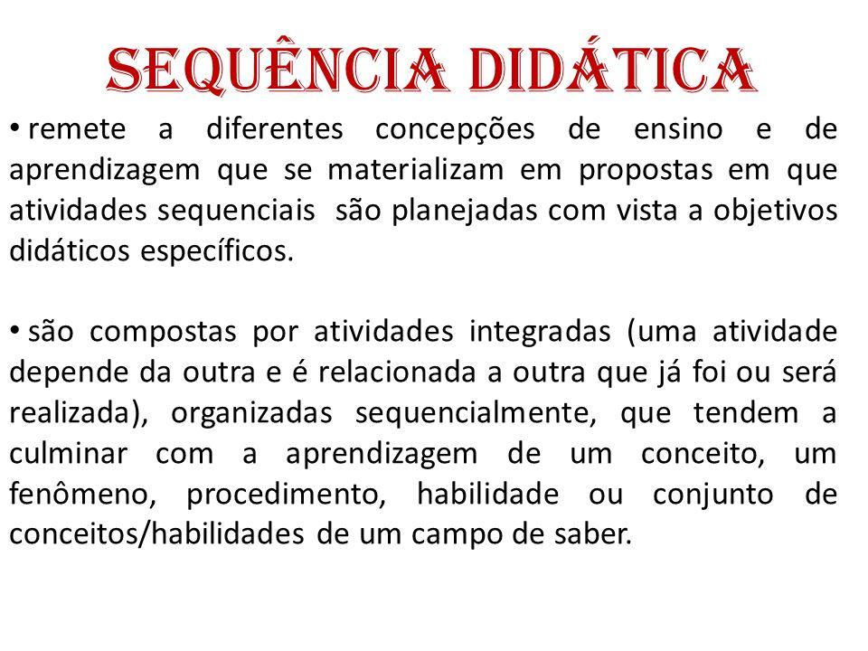 Sequência Didática • Organização: Prevê a ordem em que as atividades serão propostas, os objetivos, os conteúdos, os materiais, as etapas do desenvolvimento, a duração e a maneira como será feita a avaliação.