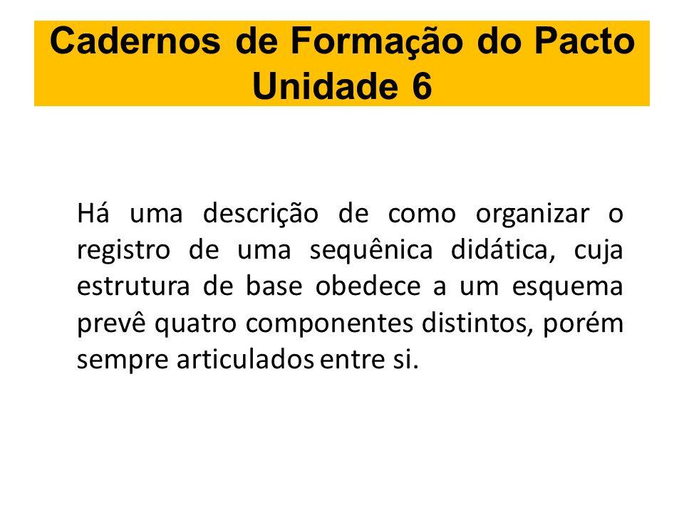 Cadernos de Forma ç ão do Pacto Unidade 6 Há uma descrição de como organizar o registro de uma sequênica didática, cuja estrutura de base obedece a um