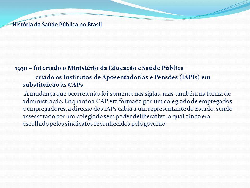 História da Saúde Pública no Brasil 1930 – foi criado o Ministério da Educação e Saúde Pública criado os Institutos de Aposentadorias e Pensões (IAPIs