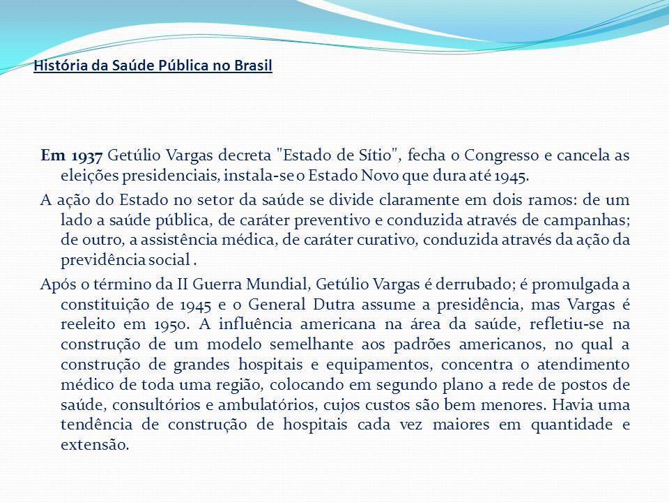 História da Saúde Pública no Brasil Em 1937 Getúlio Vargas decreta