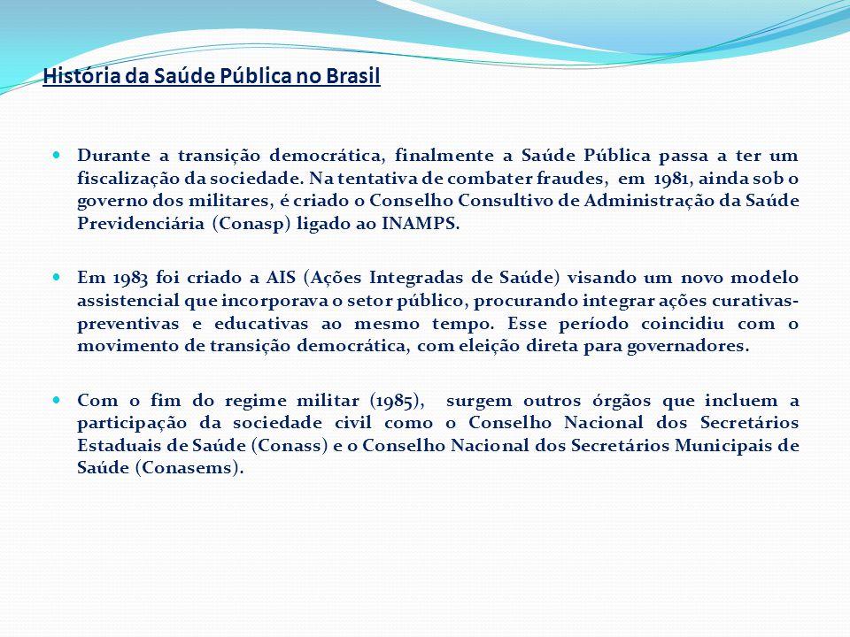 História da Saúde Pública no Brasil  Durante a transição democrática, finalmente a Saúde Pública passa a ter um fiscalização da sociedade. Na tentati