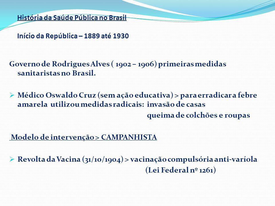 História da Saúde Pública no Brasil Início da República – 1889 até 1930 Governo de Rodrigues Alves ( 1902 – 1906) primeiras medidas sanitaristas no Br