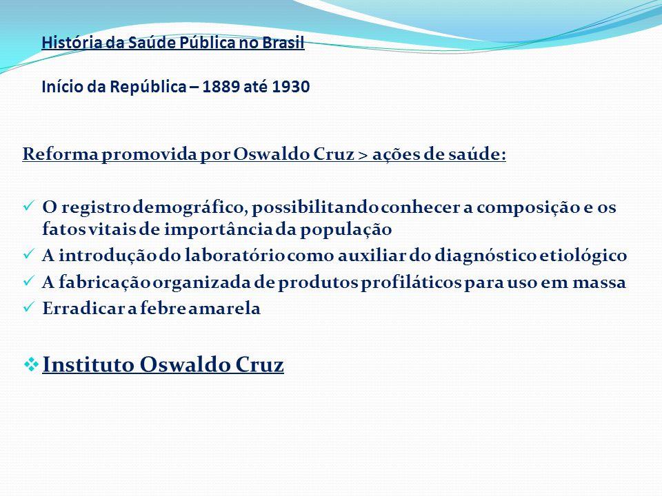 História da Saúde Pública no Brasil Início da República – 1889 até 1930 Reforma promovida por Oswaldo Cruz > ações de saúde:  O registro demográfico,
