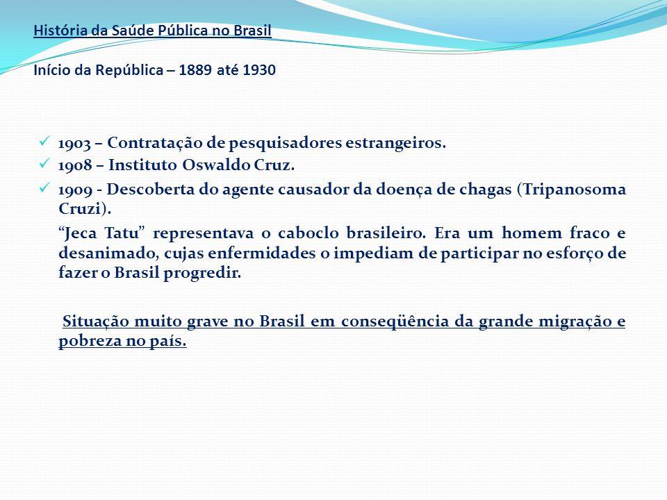 História da Saúde Pública no Brasil Início da República – 1889 até 1930  1903 – Contratação de pesquisadores estrangeiros.  1908 – Instituto Oswaldo