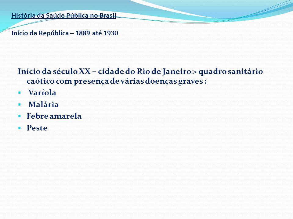 História da Saúde Pública no Brasil Início da República – 1889 até 1930 Início da século XX – cidade do Rio de Janeiro > quadro sanitário caótico com