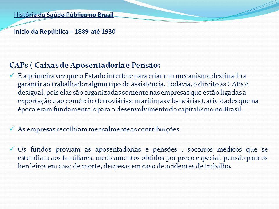História da Saúde Pública no Brasil Início da República – 1889 até 1930 CAPs ( Caixas de Aposentadoria e Pensão:  É a primeira vez que o Estado inter