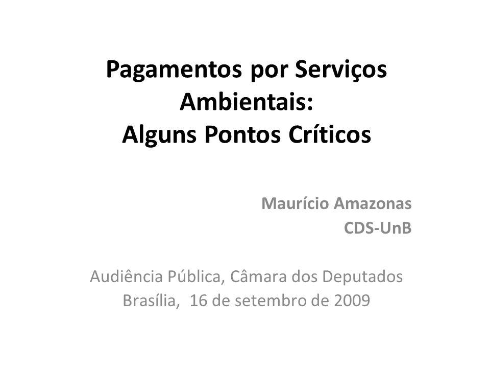 Pagamentos por Serviços Ambientais: Alguns Pontos Críticos Maurício Amazonas CDS-UnB Audiência Pública, Câmara dos Deputados Brasília, 16 de setembro