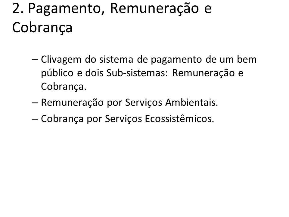 2. Pagamento, Remuneração e Cobrança – Clivagem do sistema de pagamento de um bem público e dois Sub-sistemas: Remuneração e Cobrança. – Remuneração p