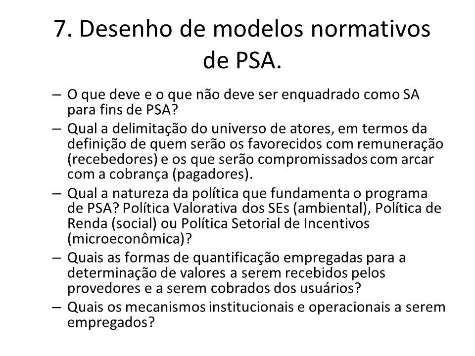 7. Desenho de modelos normativos de PSA. – O que deve e o que não deve ser enquadrado como SA para fins de PSA? – Qual a delimitação do universo de at