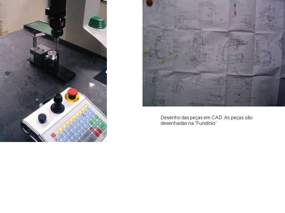 """Desenho das peças em CAD. As peças são desenhadas na """"Fundínio"""""""