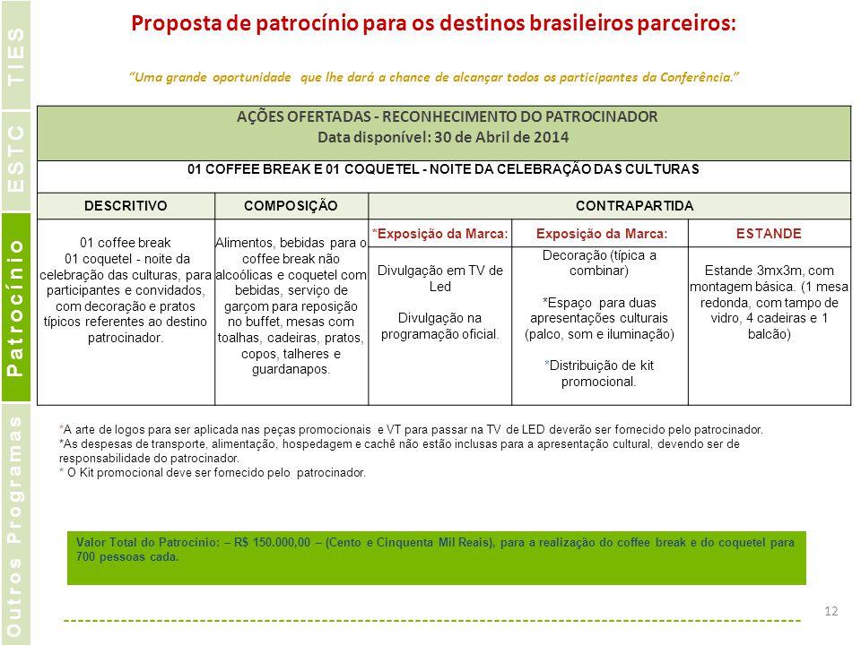 """Proposta de patrocínio para os destinos brasileiros parceiros: """"Uma grande oportunidade que lhe dará a chance de alcançar todos os participantes da Co"""