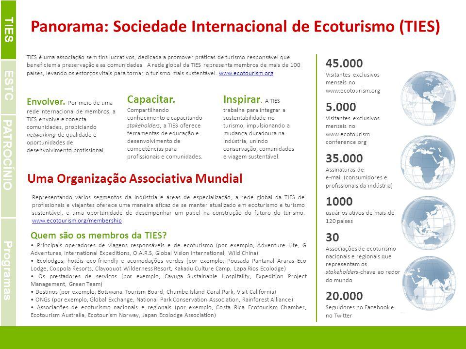 | IDEAS. OPPORTUNITIES. SOLUTIONS FOR SPONSORS & PARTNERS Panorama: Sociedade Internacional de Ecoturismo (TIES) Uma Organização Associativa Mundial E